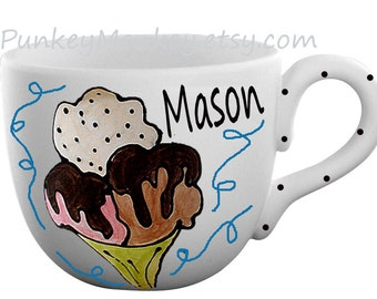 Ceramic pottery Custom ice cream bowl mug with handle cereal soup chili chowder personalized and kiln fired pottery mug bowl big deep