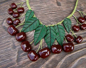 Necklace Black Cherry  jewelry Cherry necklace Handmade vintage Cherry red necklace Cherries Fruit