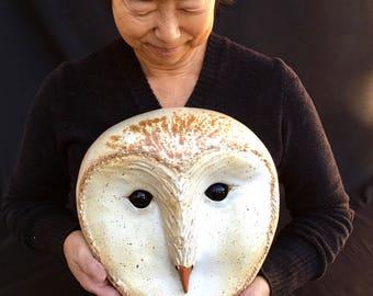 Handmade Original Ceramic Owl Mask Clay Art Mask Owl Sculpture Unique Wall Art Wall Decor Nature Magical Beast Snowy Owls Bird Lover gift
