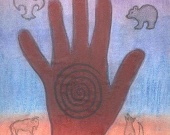 The Healing Hand Sacred Spirit Symbol Portrait by shamanic artist healer, Azurae Windwalker - Thank you for your healing ways!!!!!