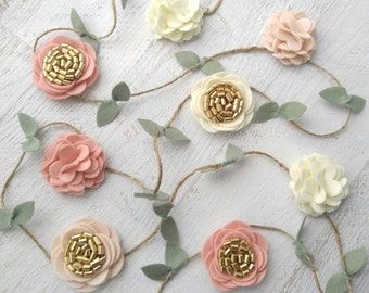 Wool Felt Rose and Flower Garland-Wall Hanging-Wedding or Home Decor-Nursery Decorations-Room Decoration in Blush Pink,Wheat,Ecru and Gold