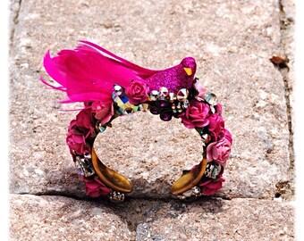Swarovski Crystal Pink Floral Bird Cuff Bracelet