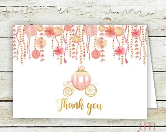 Pumpkin Thank You Card- Fall thank you card- matching thank you card- pink-thank you cards- BOHO-printable- automatic download