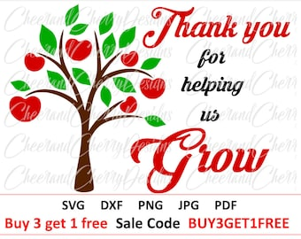 Teacher svg Thank you teacher svg Teacher Appreciation SVG School cut file Apple tree svg Teacher Gift SVG file for cricut Silhouette cameo