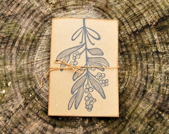 """Handmade notebook with recycled paper, hand printed journal, writers journal, """"Vischio"""""""