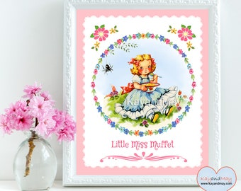 Little Miss Muffet - Nursery Rhyme birthday - Wall Art Decor - printable art print for baby girl - baby shower INSTANT DOWNLOAD # WA-6-A