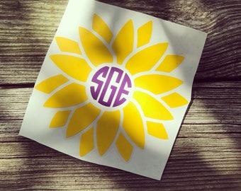 Sunflower Monogrammed Decal
