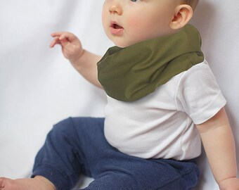 """Modern Bib (Olive) All in One Scarf & Bib """"Scabib for babies or toddlers"""