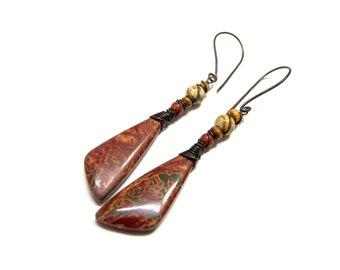 Bohemian Red Jasper Earrings, Red Creek Picasso Jasper Black Angel Oxidized Copper Earrings, Etsy Earrings, gypsy earrings Bohemian jewelry