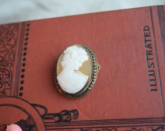 Antique Carved Shell Cameo Pin, Metallic Bullion Setting Shell Cameo Brooch Pendant, Jewelry gift for her under 40