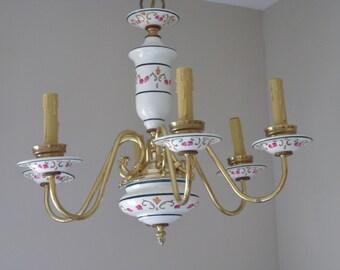 Porcelain chandelier etsy porcelain hand painted chandelier pink floral green leaf hand painting ceramic vintage hanging aloadofball Images