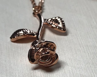 Beauty and the Beast Rose Necklace, Rose Necklace, Belle Necklace, Disney Necklace