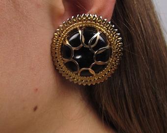 Oversized 60s Earrings / Statement Earrings / Gold-Tone Earrings / Costume Jewelry / Fashion Earrings / Starburst Earrings