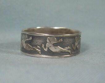 VIRGO VIRGIN Band Ring Adjustable Size-Vintage Sterling Silver-Zodiac Horoscope-August September Birthdays-Earth Element-06535