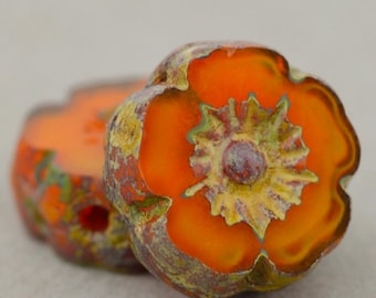Czech Glass Beads, Hibiscus Flower, Hawaiian Flower, Pansy Flower, Orange Opaline with Picasso, 9mm, 12 beads