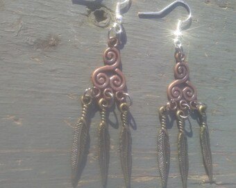 Handmade Earrings Bronze feather earrings