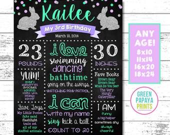 Bunny Birthday Chalkboard, Some Bunny, Milestone Sign, Glitter, Silver, Mint, Lavender, First Birthday, Any Age, Printable, Digital File