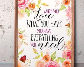 Love printable quote Love Inspirational Print Digital print  Motivational Art Teen Room Decor Dorm wall art Romantic quote Wedding sign