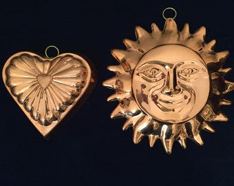 Copper Mold, Sunface and, Copper Heart, with Tin Lining, Copper Plaque