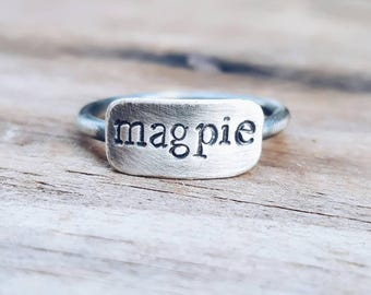 Magpie Stacking Ring // Sterling Silver Handstamped Ring.  Sterling Silver Stamped Ring. Sterling silver stacker ring.  Custom stamped ring.