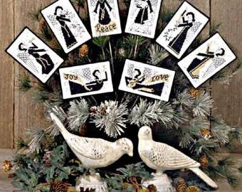 CARDSTOCK PRINTING Blackwork Angels Book No. 103 Prairie Schooler cross stitch patterns Christmas holidays ornaments