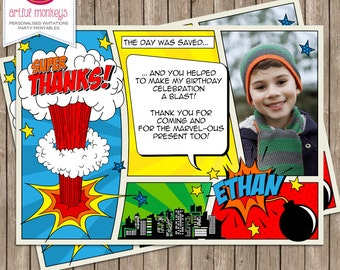 Printable Comic Superhero Thank You Card with Photo | Personalized