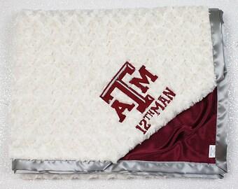 Customizable Minky Blanket, baby boy blanket, TAMU blanket, Texas A&M, maroon blanket, texas, football, baby blanket, personalized blanket