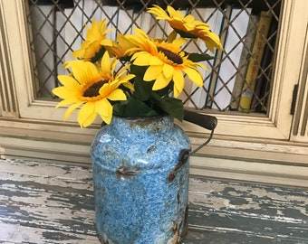 With loads of chippy character, this Primitive Blue Speckled Graniteware Milk or Cream Bucket, Wood Handle
