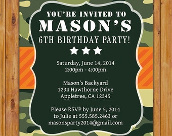 Green Camo Birthday Party Invitation Orange Green Camouflage Star invite 6th 7th 8th 9th Birthday Invite - 5x7 Digital JPG File Invite (282)