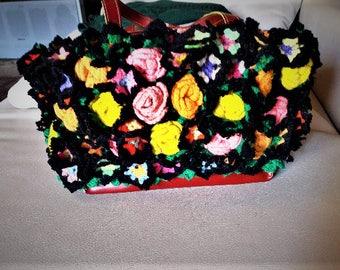 Vintage Rococo flower leather bag