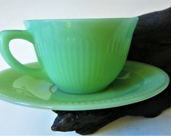 Vintage Fire King Jadeite Tea Cup Saucer Glass Jadite Jane Ray Coffee Soft Green Luster Demitasse Ribbed Rare Gift Idea Beautiful Color
