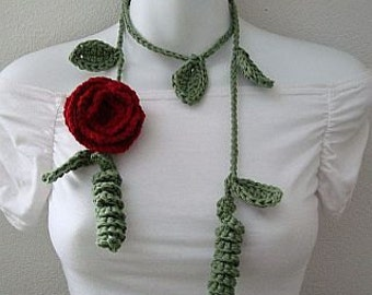 Crochet Pattern Leaf Lariat with Rose PDF  Instant Download