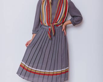 Vintage 1980's Pleated Midi Tea Dress with Stripes, Polka Dots and Belt. Size 10