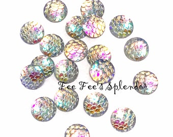 Set of 10 pcs - Mermaid scale cabochon- Resin flatback- Dragon scales- 12 mm Iridescent gem- Clear AB fish scales