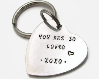 Personalized Heart Keychain, Stainless Steel Personalized Keychain, Hand Stamped Keychain You Are Loved, Wedding Gift, Bride Gift Groom Gift