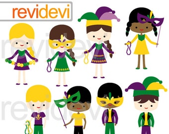 Mardi Gras Kids Clipart commercial use / New Orleans boys girls clipart / mardi gras festival digital clipart download / yellow purple green