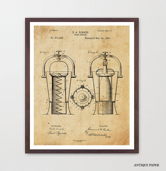 Wine Poster Wine Art Wine Cooler Patent Print Wine Decor