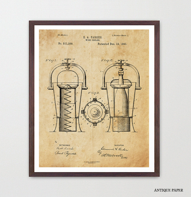 Wine Poster - Wine Art - Wine Cooler Patent Print - Wine Decor ...