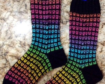 Mosaic Window Pane Patterned Hand Knit Wool Socks Opal Yarns (S-195)