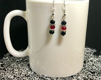 Black & Red crystal silver dangle earrings