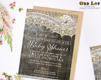 Baby Shower Invitations, Printable Baby Shower Invite, Rustic Invitation, Wood Plank and Lace, Digital Invitations, Country Style ~Wood Lace