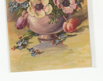 Lovely Flower Bouquet Embossed And Brush Stroke Texture Postcard