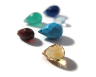 Gemstone Briolette Mix, Six Beads, Garnet, Chalcedony, Blue Topaz, Green Onyx, Citrine & Turquoise Beads for Making Jewelry (B-Mix5c)