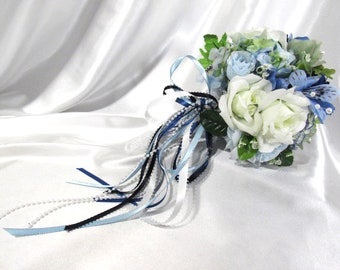 Blue Serenity Small Bridesmaid or Bridal Bouquet with Cascading Ribbon Bow - ready to ship