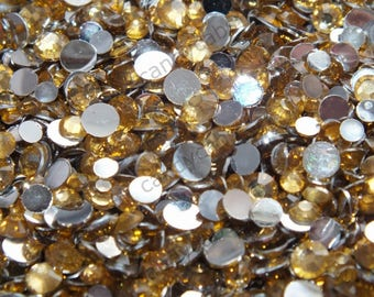 CandycabsUK mixed resin acrylic rhinestone gems 20g (approx 1000pcs) mixed sizes 3,4,5mm Amber Gold