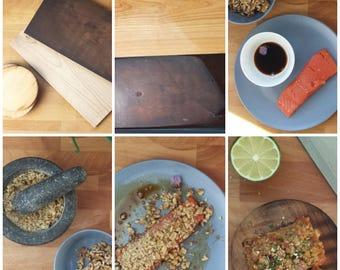 Smoking planks set, Walnut-crusted wild salmon