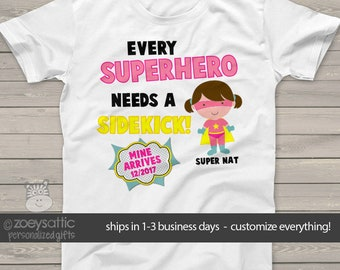 Superhero big sister shirt  big sister to be comic every superhero needs a sidekick pregnancy announcement t-shirt MSS2-012