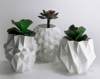 Geometric Garden Desk Decor Pineapple Planter Set Indoor Garden Planter Decorative Planter Herb Garden Planter White Planter Set Desk Plants