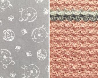 Pooh Bear-Blanket-Winnie-Pooh-Blanket-White-Gray-Pink-Minky-Baby Blanket-Burp Cloths-Pom-Poms-Baby Blanket-Layette Set