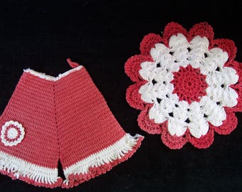 Vintage Hand Crocheted Lace Hot Pads - Kitchen Décor - Set of Two